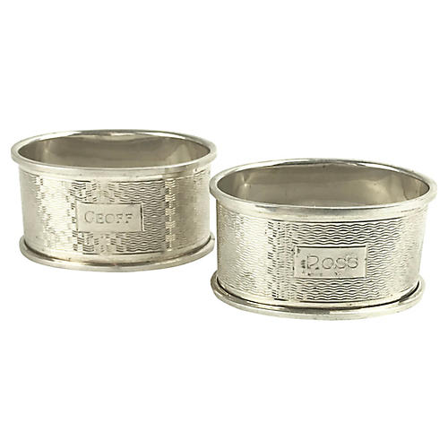 English Sterling Oval Napkin Rings, Pr