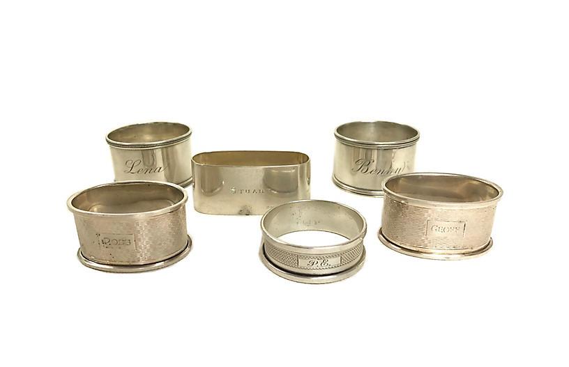 Sterling Silver Napkin Rings, S/6