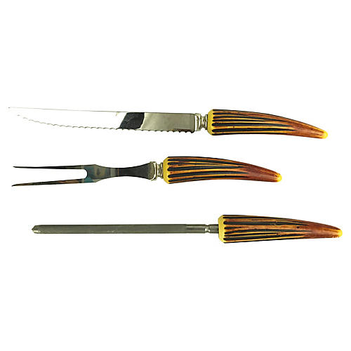 Faux Horn-Handled 3-Piece Carving Set