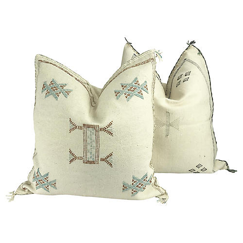 Sabra Cactus Silk Throw Pillows, Pair
