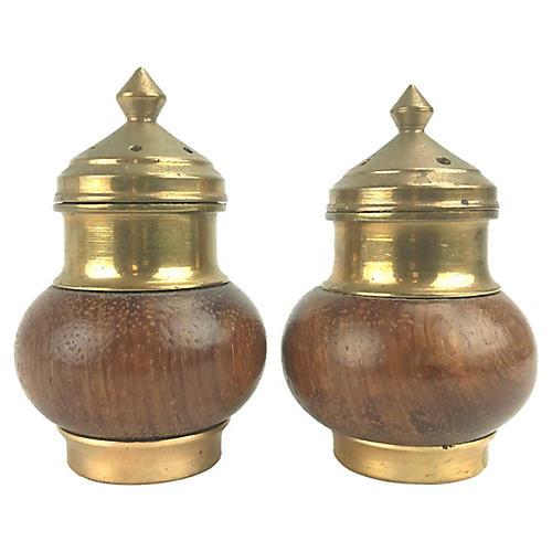 Walnut/Brass Salt & Pepper Shakers