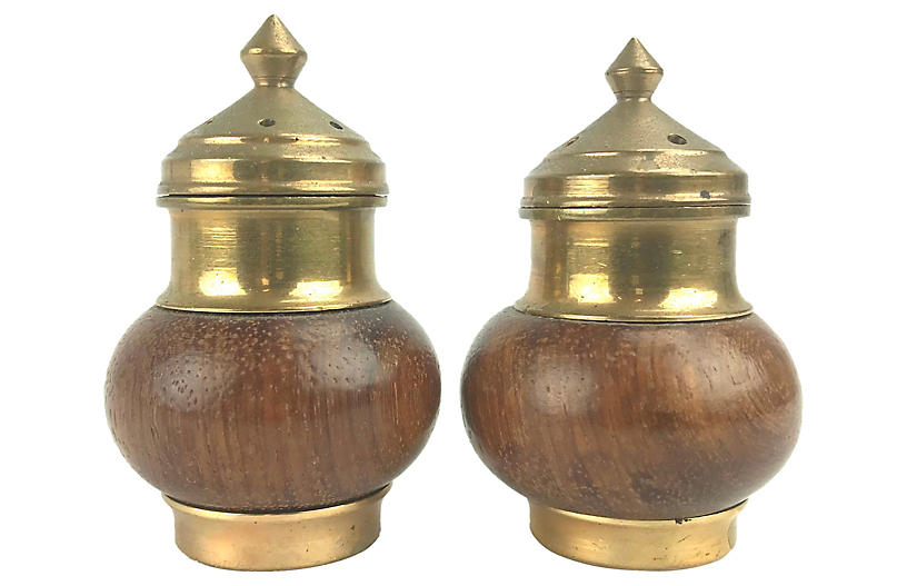 Walnut & Brass Salt/Pepper Shakers