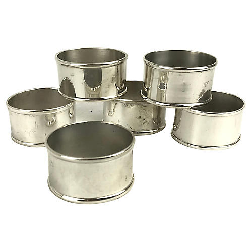 Silverplate Oval Napkin Rings, S/6