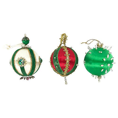 Hand-Made Beaded Push-Pin Ornaments, S/3