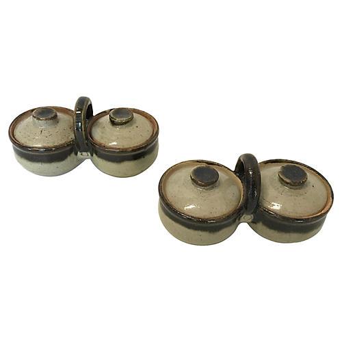 Stoneware Condiment Servers, S/2