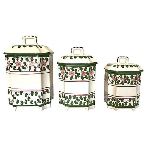 Portuguese Ceramic Kitchen Canisters S/3