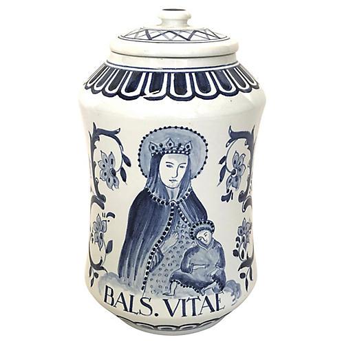 Dutch Delft Porcelain Balsam Vitae Jar