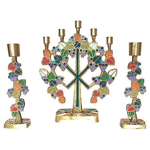 Enameled Brass Candle Holders, S/3