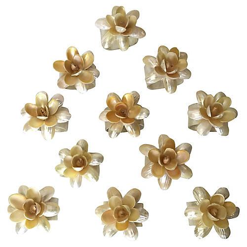 Capiz Shell Flower Napkin Rings, S/11