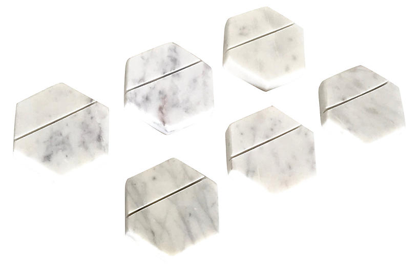 Marble Hexagonal Place Card Holders, S/6