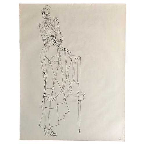 1970s Figure Drawing Sketch of Woman