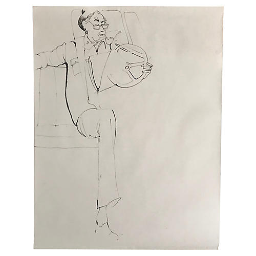 1970s Figure Drawing Sketch of Old Man