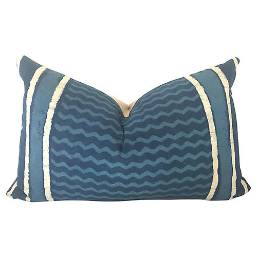 Hand-Printed Shibori Lumbar Pillow