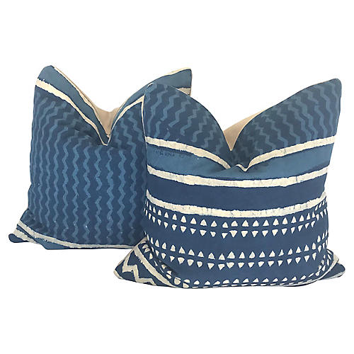 Hand-Printed Shibori Throw Pillows, Pair