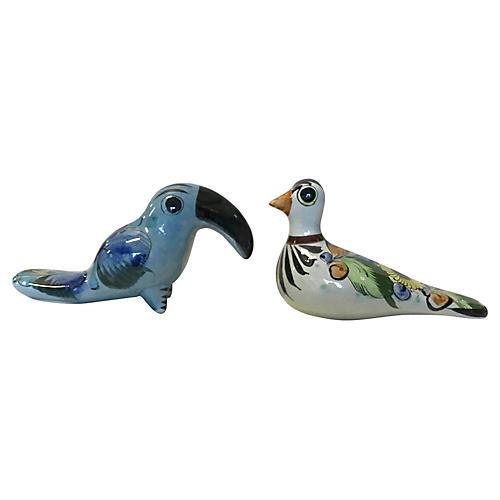Mexican Tonala Hand-Painted Birds, S/2