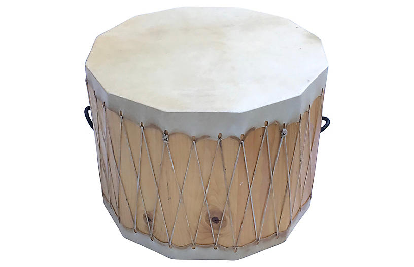 Hand-Made Ceremonial Drum Accent Table