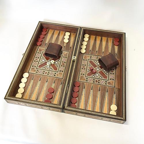 Wood Inlay Backgammon/Checkers Set