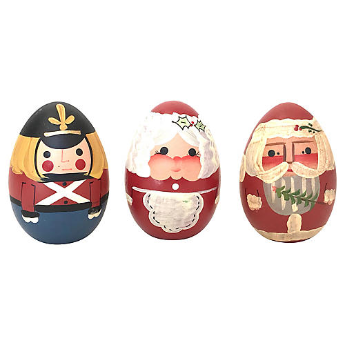 Hand-Painted Soldier, Santa & Mrs Claus