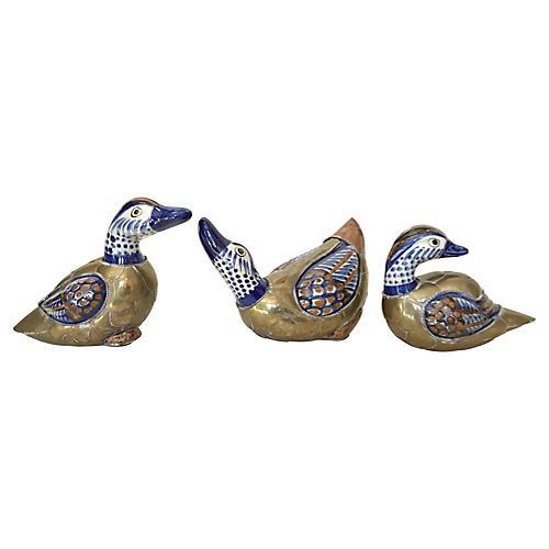 Brass & Ceramic Ducks, S/3