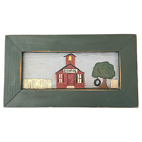 Carved & Painted Schoolhouse Art
