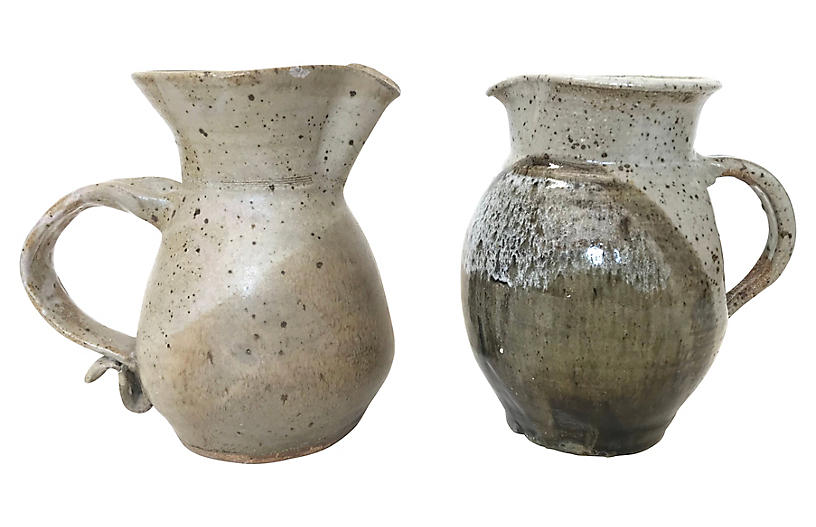 Stoneware Ceramic Milk Pitchers, Pair