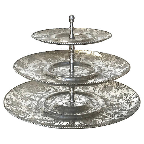 1950s Wrought Aluminum 3-Tiered Tray