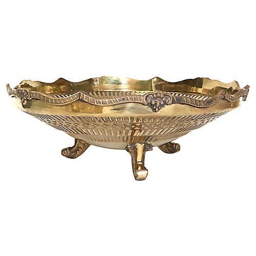 Solid Brass Pierced & Footed Bowl