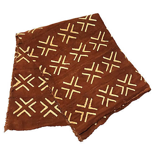 African Brown Mud-Cloth Throw