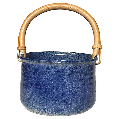 Ceramic Catchall w/ Bamboo Handle