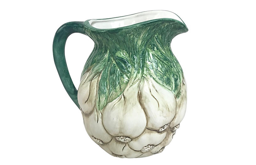 Italian Ceramic Majolica Garlic Pitcher