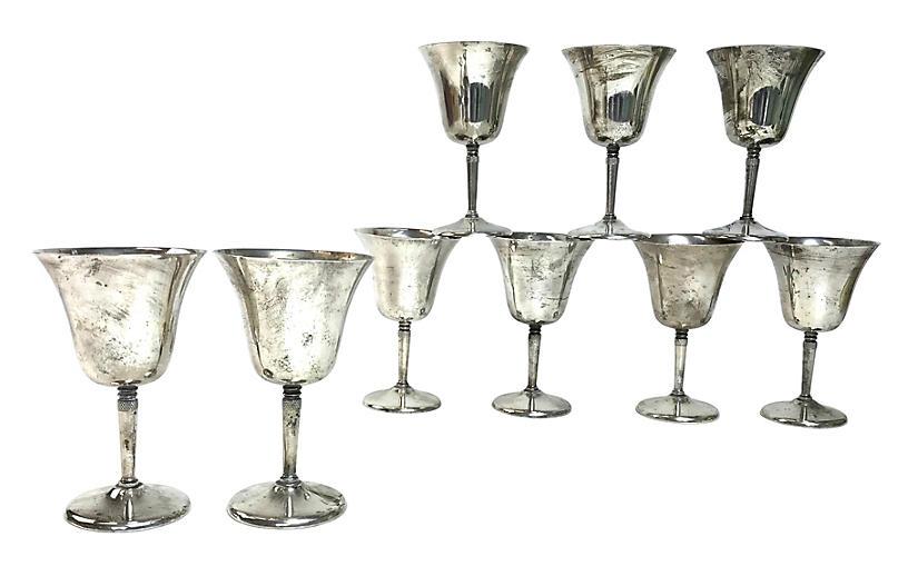 1950s Silverplate Wine Glasses, S/9