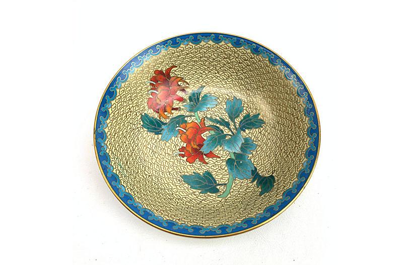Cloisonné & Brass Bowl