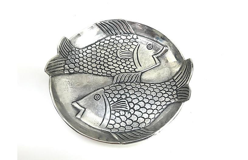 Embossed Metal Fish Platter