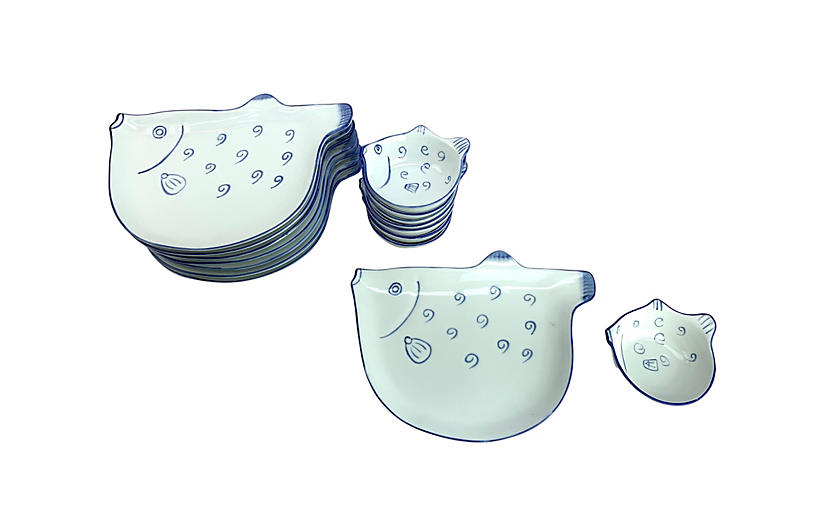 Fish-Shaped Plate & Bowl Set, 16-Pc