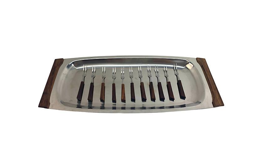 Mid-Century Mod Serving Tray & Forks