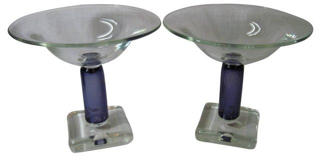 Italian Art Glass Compotes, Pair