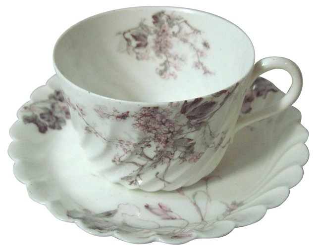 Haviland Swirled Cup & Saucer