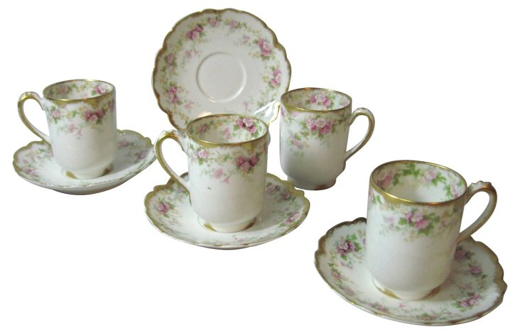 Haviland  Cups & Saucers, S/4