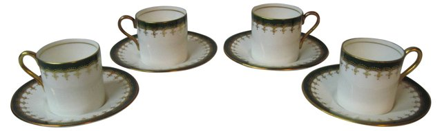 Aynsley Emerald  Cups & Saucers, S/4