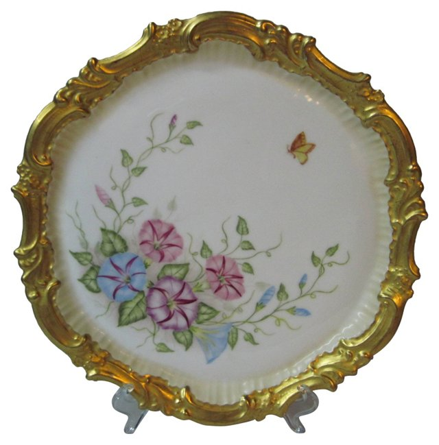 T & V Limoges Morning Glories Tray