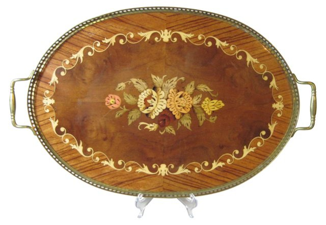 Italian Wood & Brass Gallery Tray