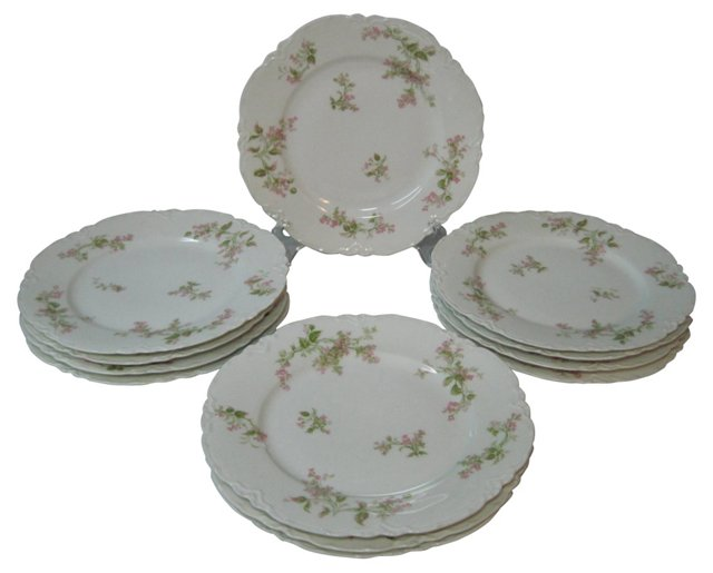 Haviland Pink Floral Lunch Plates, S/12