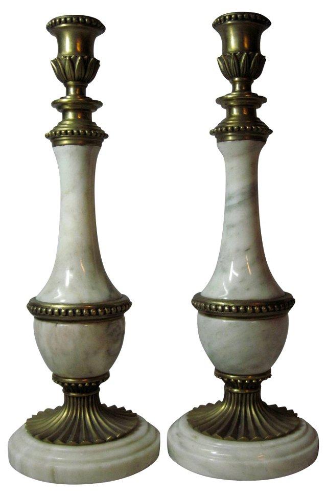 Marble & Brass Candlesticks, Pair
