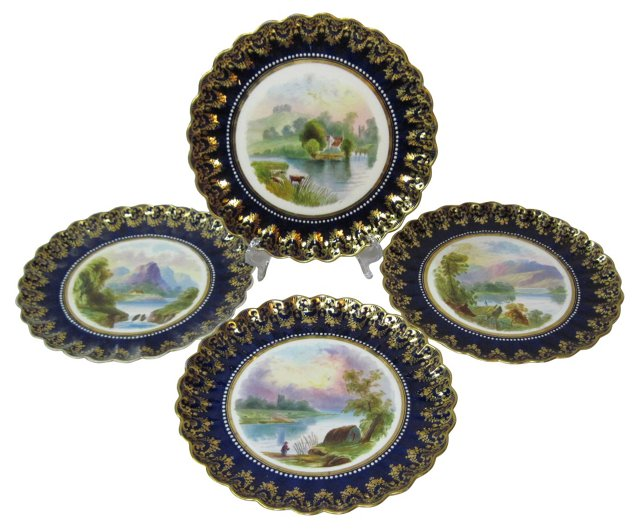 Spode Hand-Painted Plates, S/4