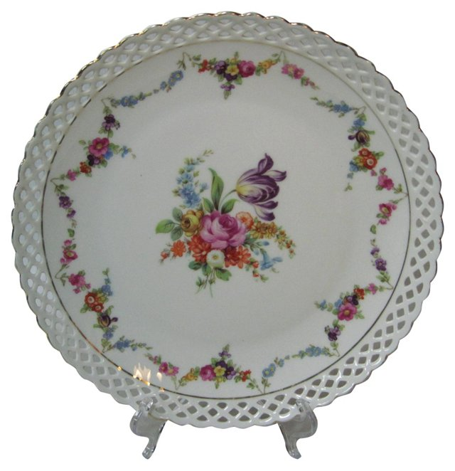 Dresden Reticluated Floral Plate