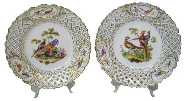 Antique Meissen Chinoiserie Plates, Pair