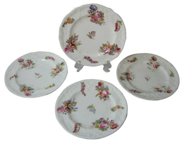 Coalport Floral Dessert Plates, S/4