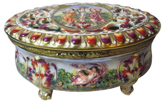 Italian Porcelain Box w/ Reticulated Lid