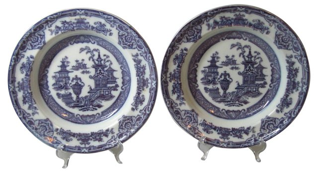 Mulberry Soup Plates, 1850, Pair