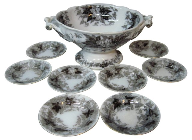 French Mulberry Compote & Bowls, 9 Pcs
